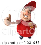 Clipart Of A 3d Chubby Guy In A Red Burger Shirt Holding A Thumb Up Royalty Free Illustration