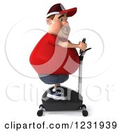 Clipart Of A 3d Chubby Guy Exercising On A Stationary Bike Royalty Free Illustration
