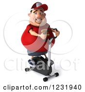 Clipart Of A 3d Chubby Guy Exercising On A Stationary Bike 2 Royalty Free Illustration