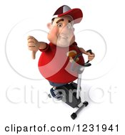 Clipart Of A 3d Chubby Guy Holding A Thumb Down And Exercising On A Stationary Bike Royalty Free Illustration