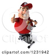 Clipart Of A 3d Chubby Guy Holding A Thumb Up And Exercising On A Stationary Bike Royalty Free Illustration