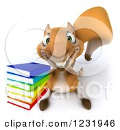 Clipart Of A 3d Squirrel Holding A Thumb Up And A Stack Of Books Royalty Free Illustration