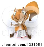 Clipart Of A 3d Squirrel Holding A Book And Thumb Up Royalty Free Illustration