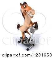 Clipart Of A 3d Horse Exercising On A Stationary Bike 3 Royalty Free Illustration