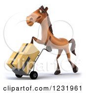 Clipart Of A 3d Brown Horse Pushing Boxes On A Dolly Hand Truck 3 Royalty Free Illustration