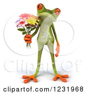 Clipart Of A 3d Romantic Springer Frog Holding A Bouquet Of Flowers Royalty Free Illustration