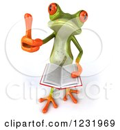 Clipart Of A 3d Springer Frog Holding A Thumb Up And A Stack Of Books Royalty Free Illustration