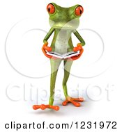 Clipart Of A 3d Springer Frog Walking And Reading A Book 2 Royalty Free Illustration