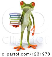 Clipart Of A 3d Springer Frog Standing With A Stack Of Books Royalty Free Illustration