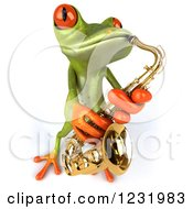 Clipart Of A 3d Green Springer Frog Playing A Saxophone 4 Royalty Free Illustration