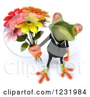 Clipart Of A 3d Romantic Formal Springer Frog Holding A Bouquet Of Flowers Royalty Free Illustration