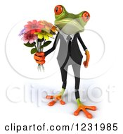 3d Romantic Formal Springer Frog Holding A Bouquet Of Flowers 2