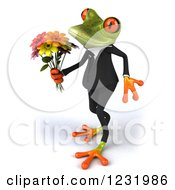 3d Romantic Formal Springer Frog Holding A Bouquet Of Flowers 3