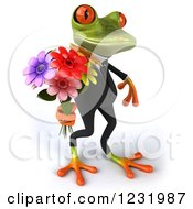 3d Romantic Formal Springer Frog Holding A Bouquet Of Flowers 4