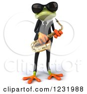 Clipart Of A 3d Green Springer Frog Playing A Saxophone In A Suit And Sunglasses Royalty Free Illustration