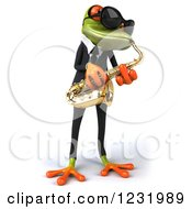 Clipart Of A 3d Green Springer Frog Playing A Saxophone In A Suit And Sunglasses 2 Royalty Free Illustration