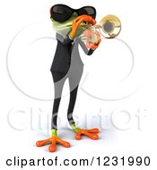 Clipart Of A 3d Green Springer Frog Playing A Saxophone In A Suit And Sunglasses 3 Royalty Free Illustration