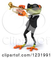 Clipart Of A 3d Green Springer Frog Playing A Saxophone In A Suit And Sunglasses 4 Royalty Free Illustration