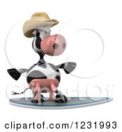 Clipart Of A 3d Surfer Cow Wearing A Cowboy Hat Royalty Free Illustration