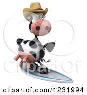Clipart Of A 3d Surfer Cow Wearing A Cowboy Hat 2 Royalty Free Illustration