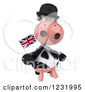 Clipart Of A 3d British Cow Holding A Flag Royalty Free Illustration