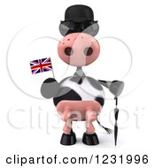 Clipart Of A 3d British Cow Holding A Flag 2 Royalty Free Illustration