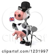 Clipart Of A 3d British Cow Holding A Flag 3 Royalty Free Illustration