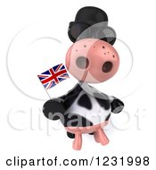 Clipart Of A 3d British Cow Holding A Flag 4 Royalty Free Illustration