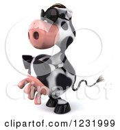 Clipart Of A 3d Cow Wearing Sunglasses And Facing Left Royalty Free Illustration