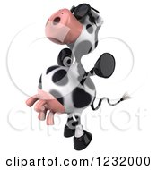 Clipart Of A 3d Cow Wearing Sunglasses Jumping And Facing Left Royalty Free Illustration