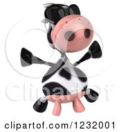 Clipart Of A 3d Cow Wearing Sunglasses And Jumping Royalty Free Illustration