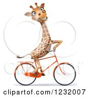 Clipart Of A 3d Happy Giraffe Riding A Bicycle 2 Royalty Free Illustration by Julos