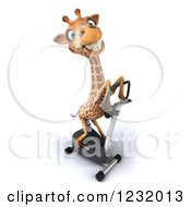 Clipart Of A 3d Giraffe Exercising On A Stationary Bike 2 Royalty Free Illustration