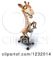 Clipart Of A 3d Giraffe Exercising On A Stationary Bike 3 Royalty Free Illustration