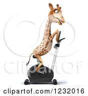 Clipart Of A 3d Giraffe Exercising On A Stationary Bike Royalty Free Illustration