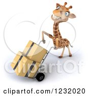 Clipart Of A 3d Happy Giraffe Pushing Boxes On A Dolly Hand Truck 4 Royalty Free Illustration