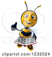 Clipart Of A 3d Bee Reading A Book And Holding A Thumb Up Royalty Free Illustration