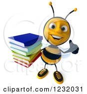 Clipart Of A 3d Bee Holding A Thumb Up And Books Royalty Free Illustration