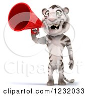 Clipart Of A 3d White Tiger Mascot Announcing With A Megaphone Royalty Free Illustration