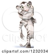 Clipart Of A 3d White Tiger Mascot Looking Around A Sign Royalty Free Illustration