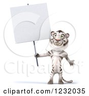 Clipart Of A 3d White Tiger Mascot Holding A Sign 2 Royalty Free Illustration