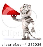 Clipart Of A 3d White Tiger Mascot Announcing With A Megaphone 2 Royalty Free Illustration