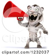 Clipart Of A 3d White Tiger Mascot Announcing With A Megaphone 3 Royalty Free Illustration