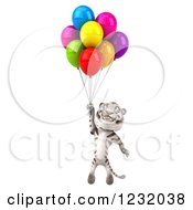 Clipart Of A 3d White Tiger Mascot Floating With Party Balloons Royalty Free Illustration