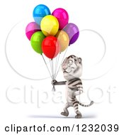 Clipart Of A 3d White Tiger Mascot Walking With Party Balloons 2 Royalty Free Illustration