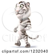Clipart Of A 3d Happpy White Tiger Mascot Walking Upright Royalty Free Illustration