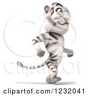 Clipart Of A 3d Happpy White Tiger Mascot Walking Upright 2 Royalty Free Illustration
