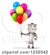 Clipart Of A 3d White Tiger Mascot Walking With Party Balloons Royalty Free Illustration