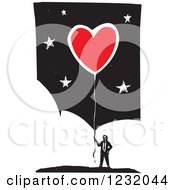 Clipart Of A Woodcut Businessman With A Red Heart Balloon Over Clouds And Stars Royalty Free Vector Illustration by xunantunich