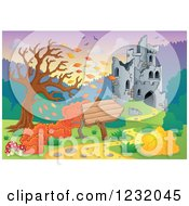Clipart Of A Castle In Ruins And Autumn Landscape With A Sign 2 Royalty Free Vector Illustration